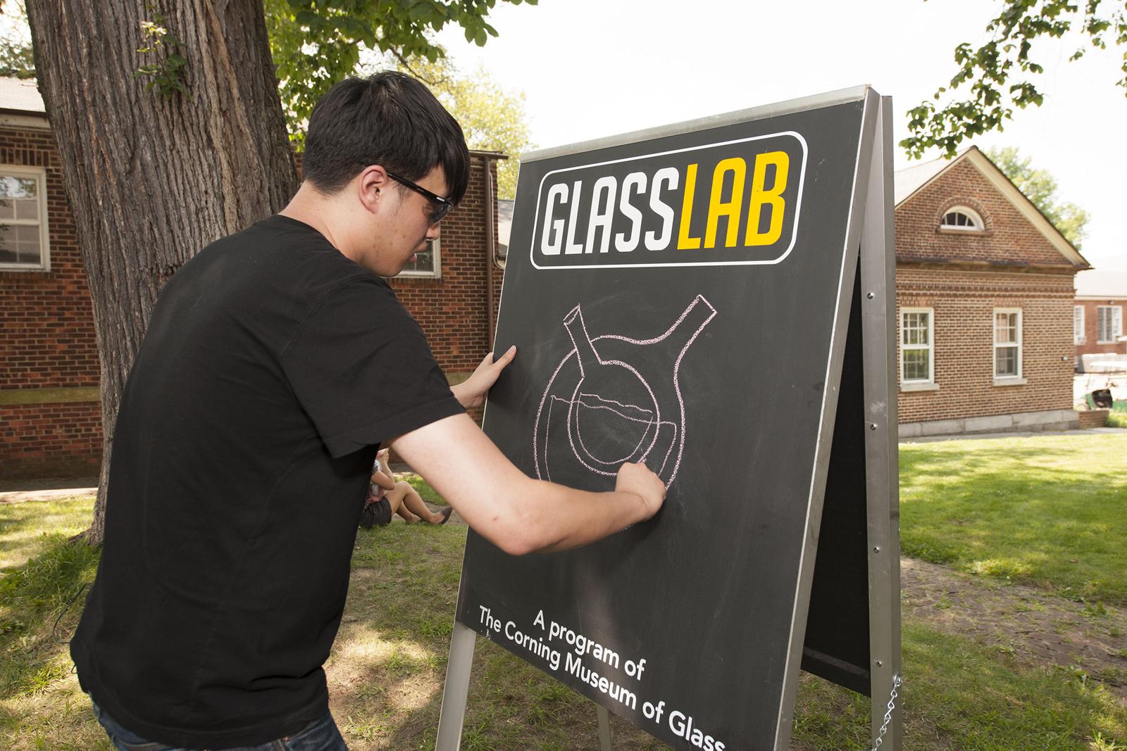 Designer Eric Ku at GlassLab on Governors Island, July 2012