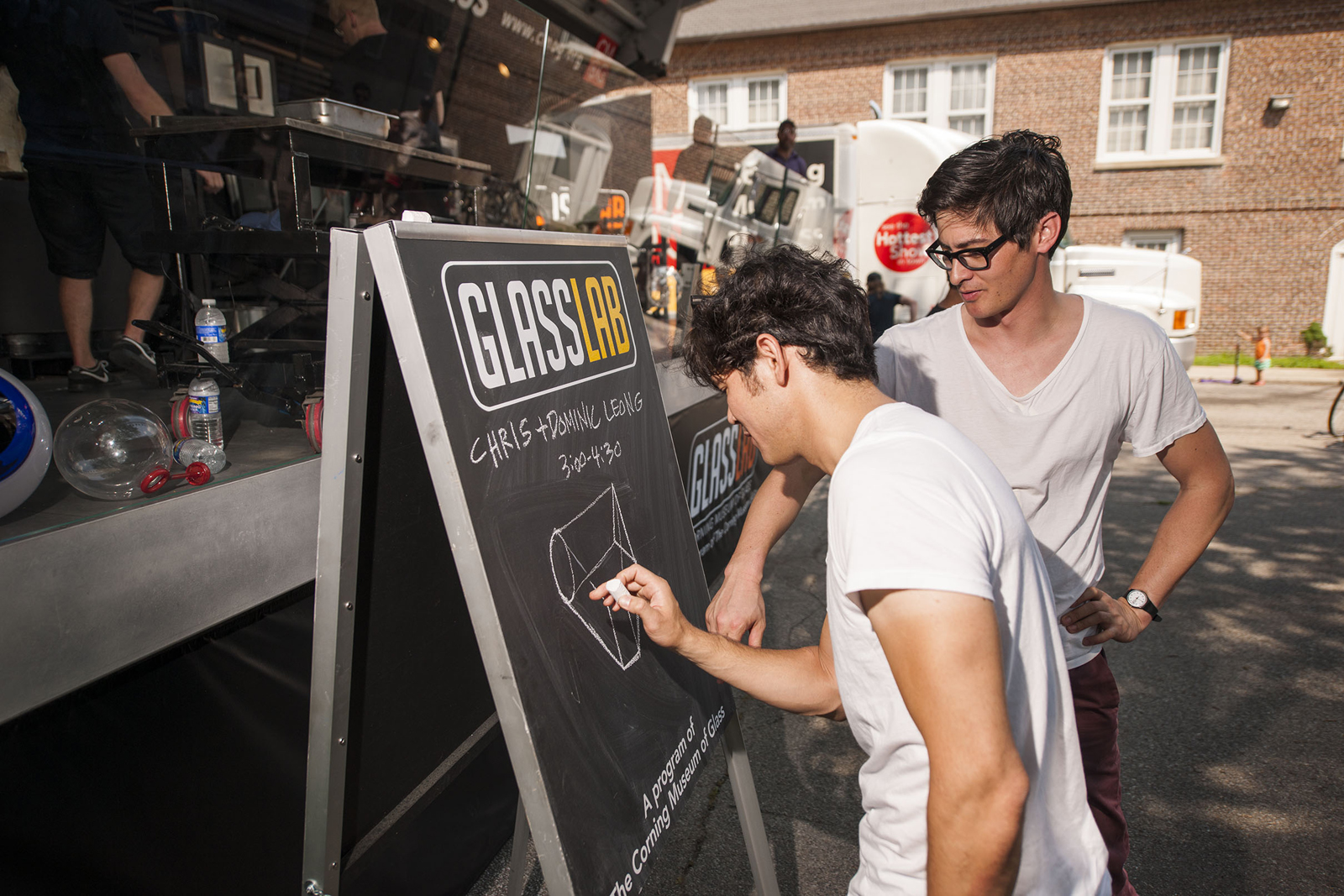 Designers Chris and Dominic Leong at GlassLab on Governors Island, July 2012