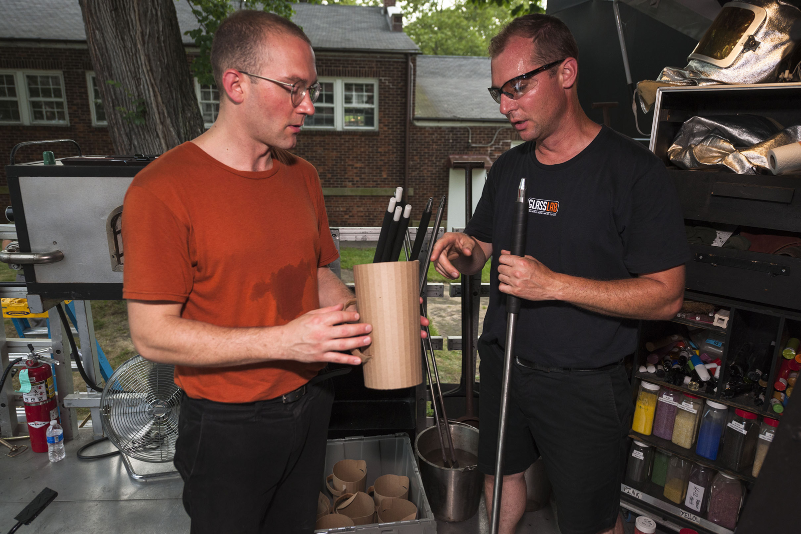 Designer Leon Ransmeier at GlassLab on Governors Island, July 2012