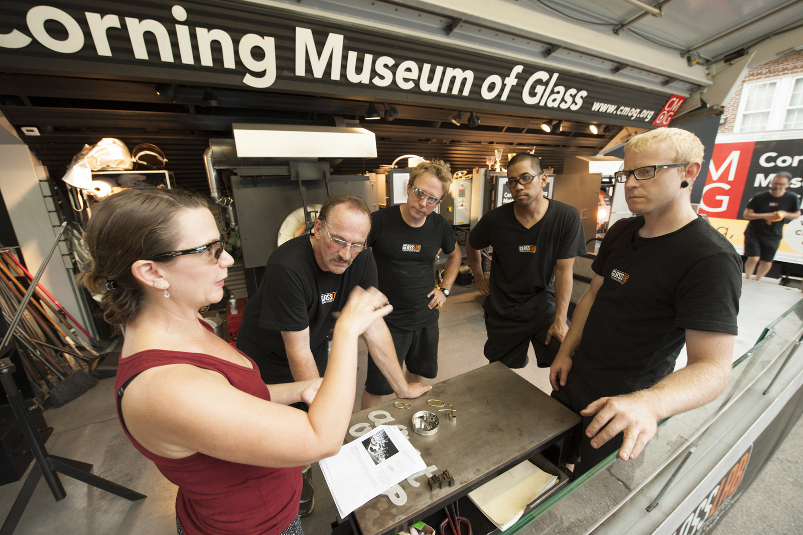 Designer Georgie Stout at GlassLab on Governors Island, July 2012