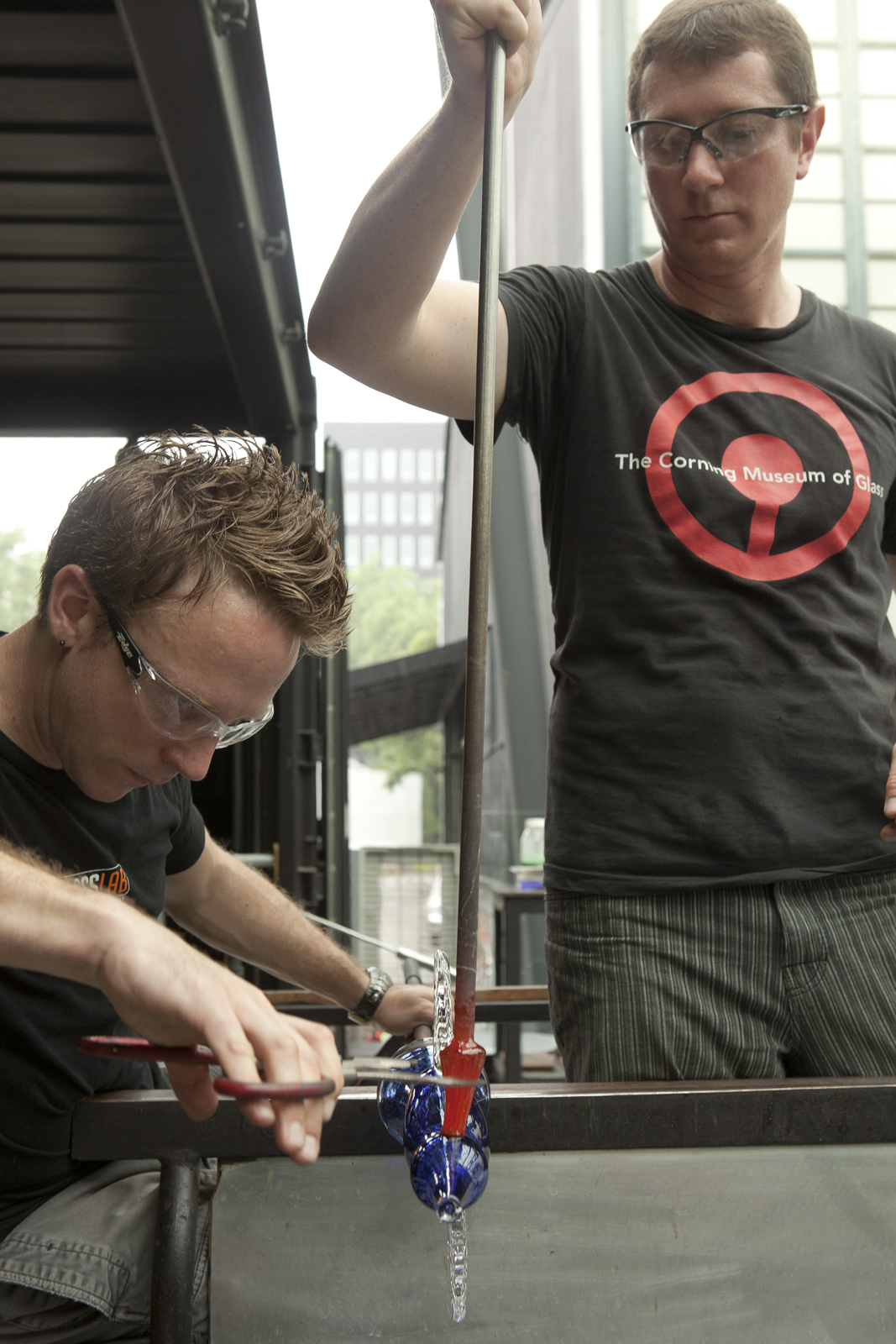 Gaffers Chris Rochelle and Aaron Jack work on a prototype by illustrator Peter Sís