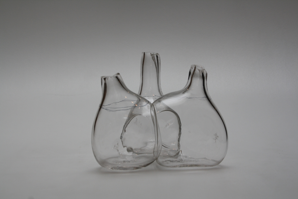 Joined Bottles prototype by Atelier Oï/Aurel Aebi (Swiss, b. 1966), Armand Louis (Swiss, b. 1966), and  Patrick Reymond (Swiss, b. 1962) With the assistance of Eric Meek and Marc Barreda Germany, Weil am Rhein, Vitra Design Museum, GlassLab, 2010 Blown glass