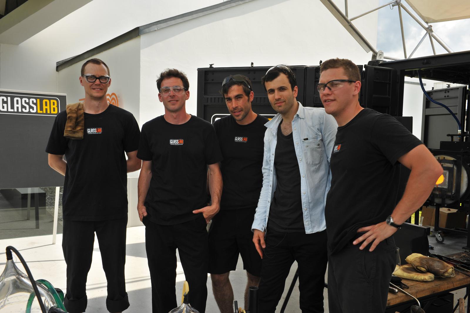 Designer Paul Cocksedge with the GlassLab team