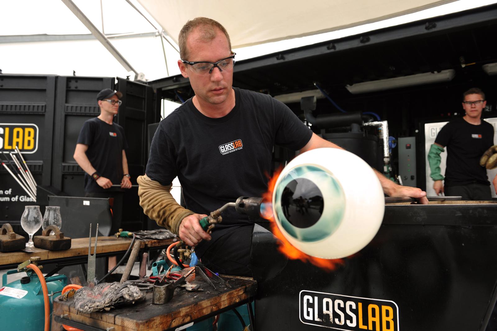Glass eye prototype by designer Sigga Heimis at GlassLab