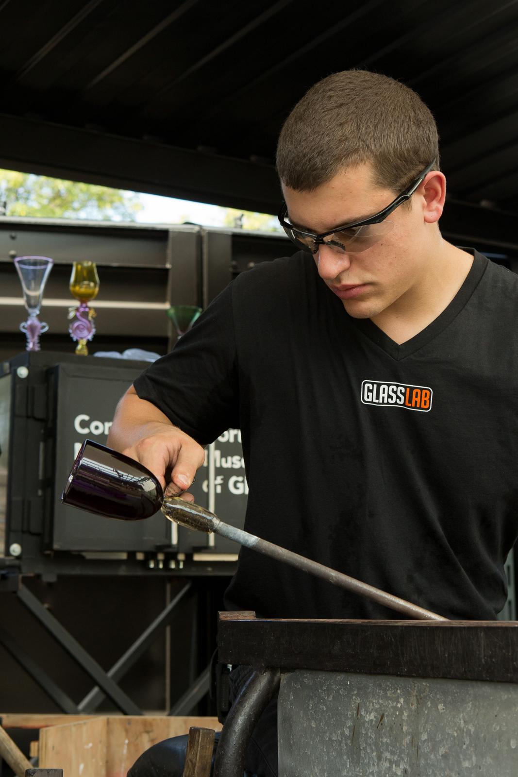 Glassmaker Tom Ryder works with Harry Allen and Chris Hacker at GlassLab in Corning, August 2012