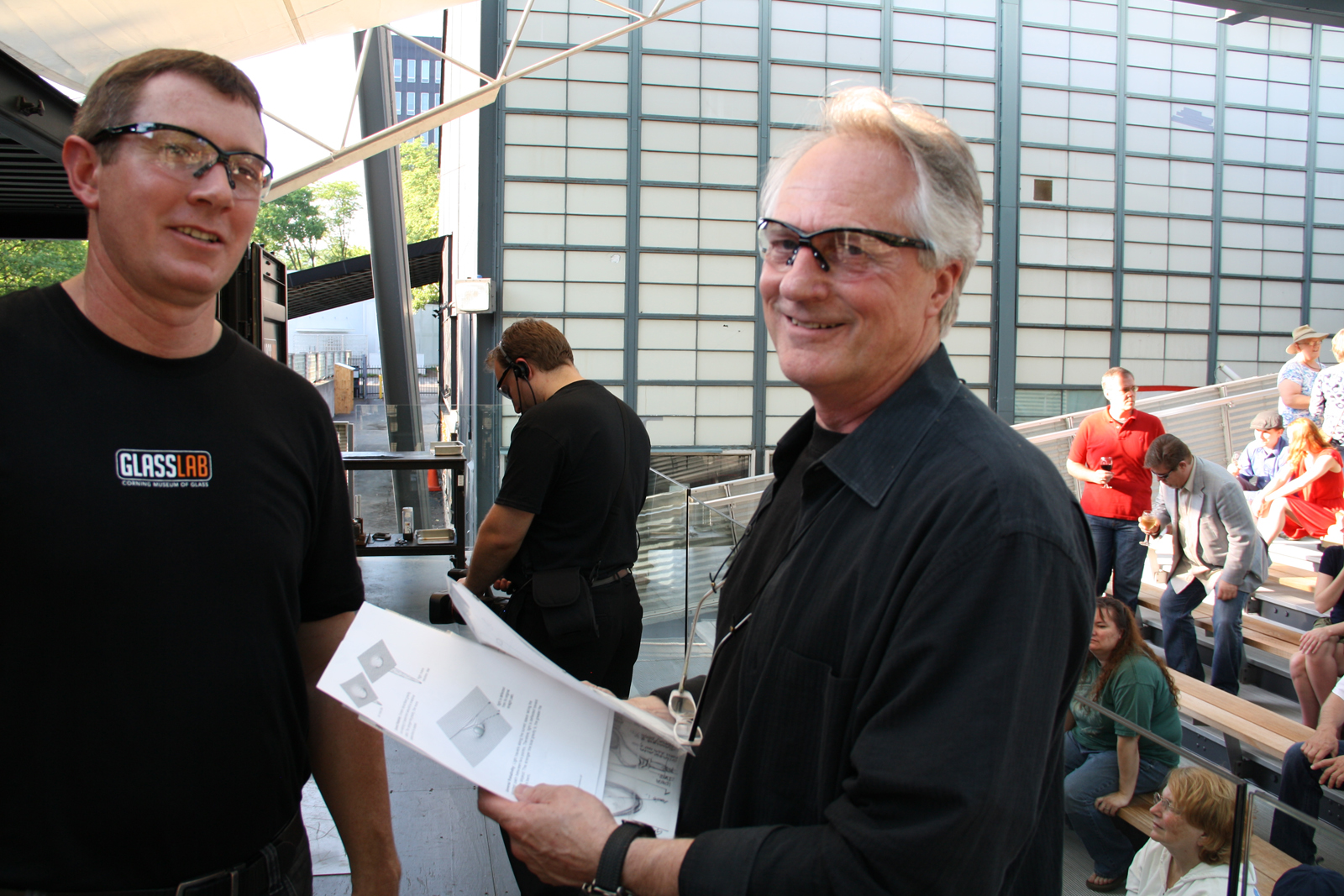 Designer Paul Haigh with gaffer Aaron Jack at GlassLab in Corning, 2012