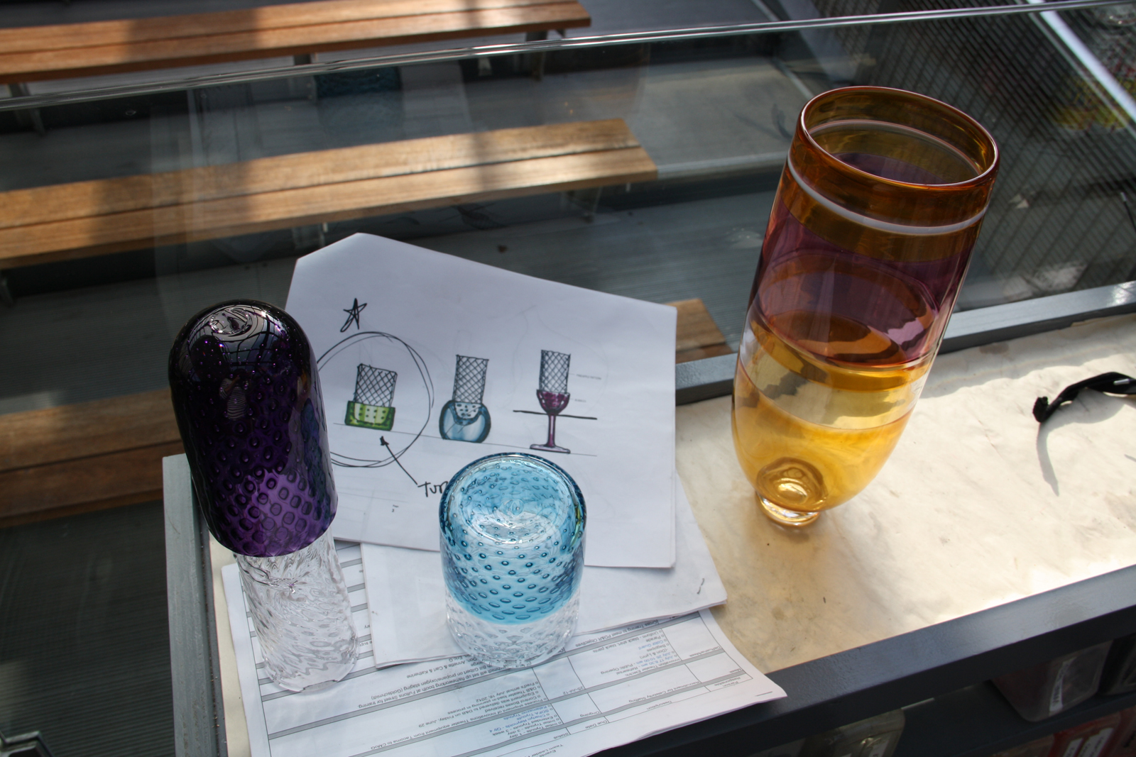 Prototypes and design drawings by Harry Allen and Chris Hacker for their GlassLab design session.