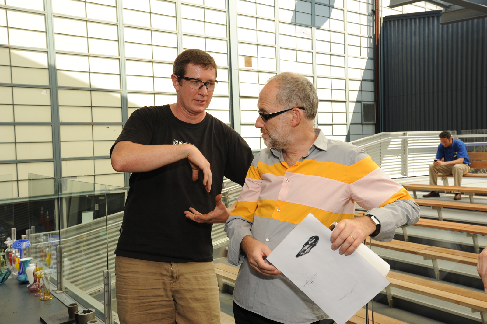 Gaffer Aaron Jack works with designer Constantin Boym in a GlassLab Design Session in Corning, NY, August 2012