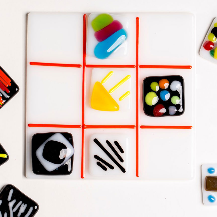 Detail of a fused glass tic tac toe game