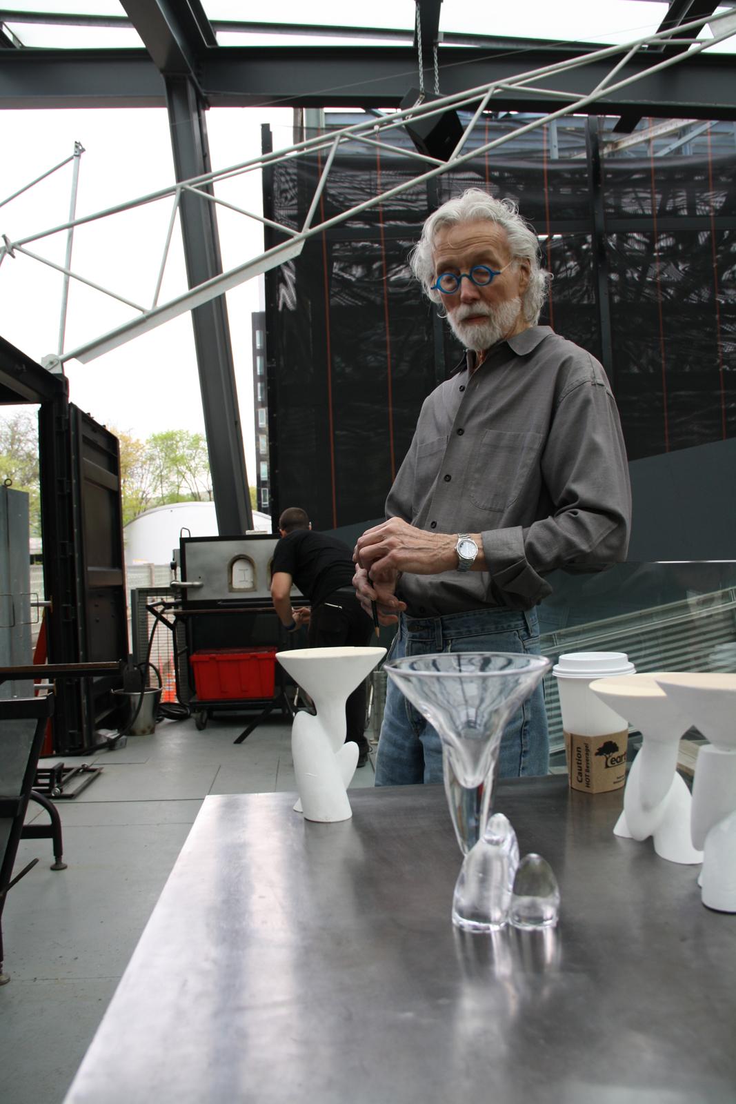 Designer Wendell Castle in a GlassLab design session in Corning, May, 2013