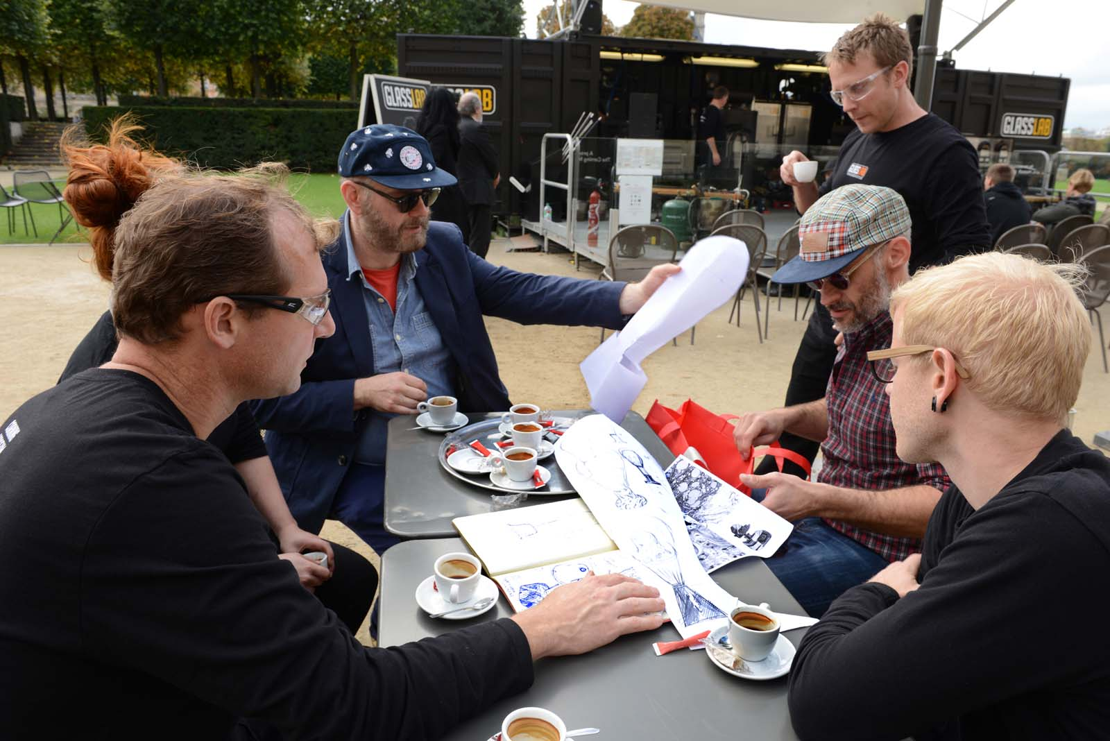 Designers Antoine Audiau and Manuel Warosz in a GlassLab design session in Paris, 2013. Photo credit Diedi.