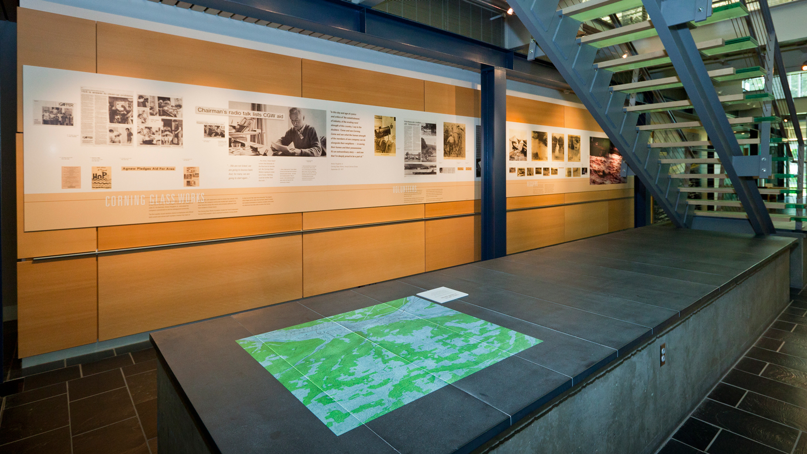Map showing the flood zone in The Flood of '72 exhibition