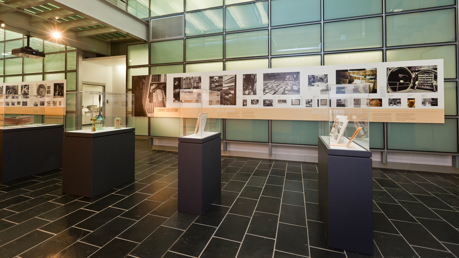 objects in cases in The Flood of '72 exhibition