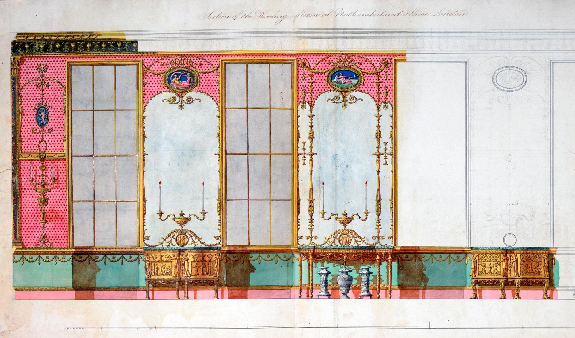 Design drawing of the Northumberland glass drawing room with pink and green walls and pencil sketches.