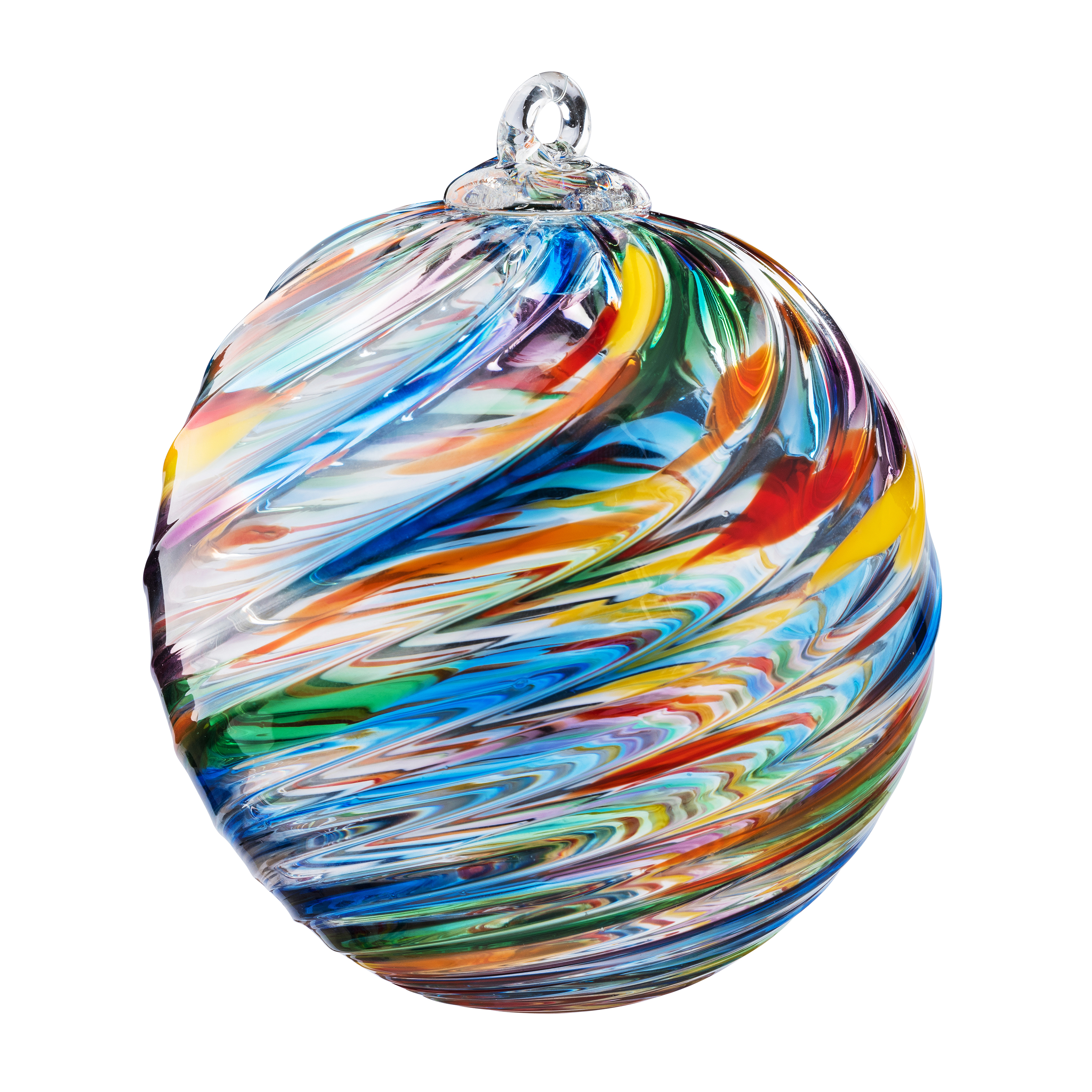 round ornament featuring an array of rainbow colors.
