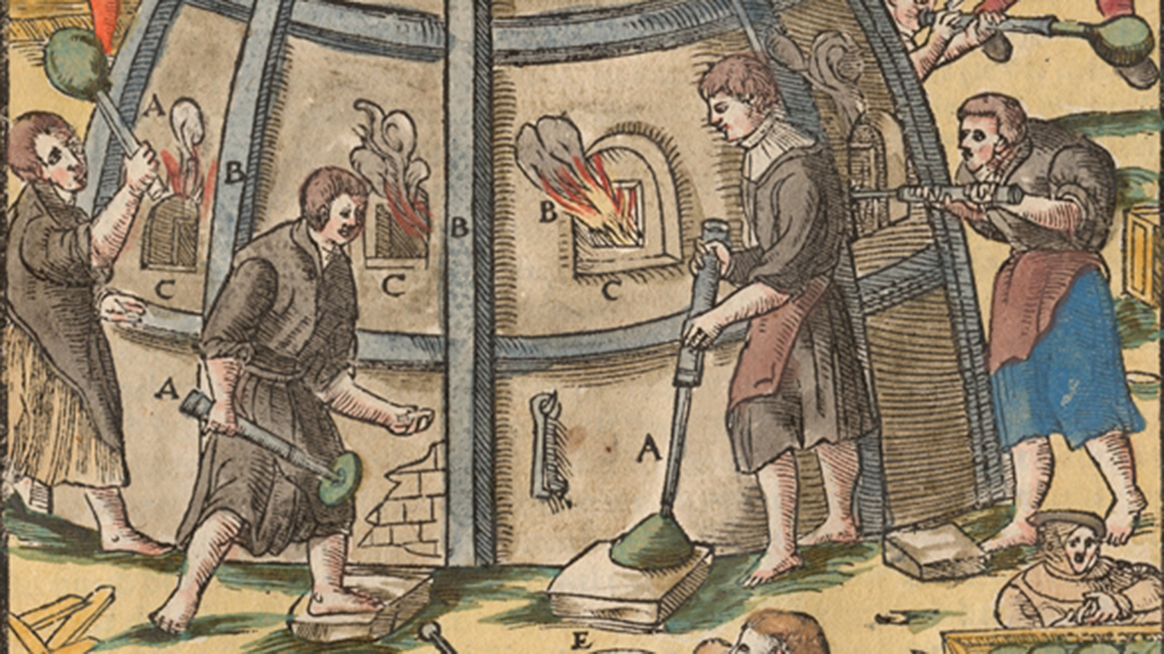 Woodcut of glass furnace from the Berchwerck Buch (detail), Georg Agricola (1494-1555), Frankfurt-on-Main, 1580. Gift of Mrs. Lucille Strauss. CMGL 66820.