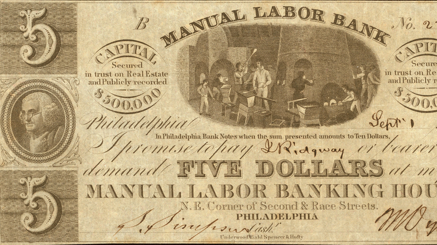 Glasshouse Bill for Five Dollars (detail), Manual Labor Bank, Philadelphia, 1837. Glasshouse money collection, 1762-2004. Gift of Frances Armentrout. CMGL 87849.