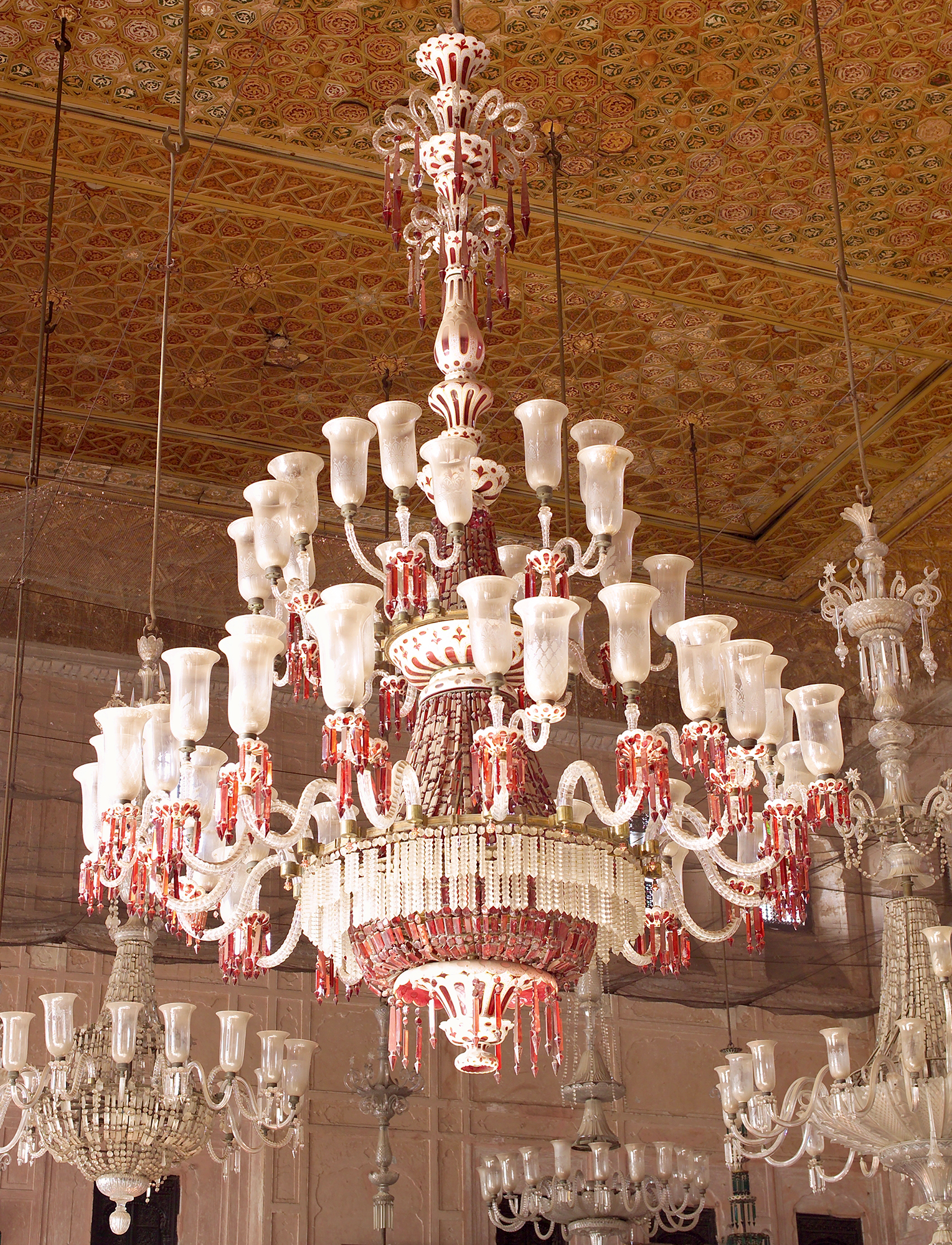 All about glass corning museum of glass 8 red cased chandelier in durbar hall at qila mubarak patiala f c osler probably 1870s aloadofball Choice Image