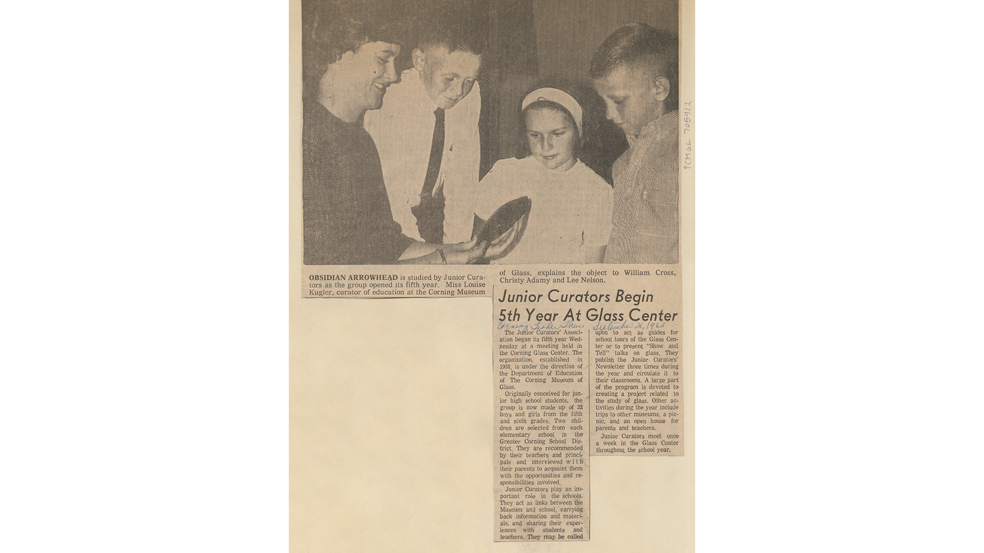 'Junior Curators Begin 5th Year at Glass Center,' Corning Leader,  September 26, 1963, Corning Museum of Glass Education Department Junior Curators Program Records, CMOG RG10 S05