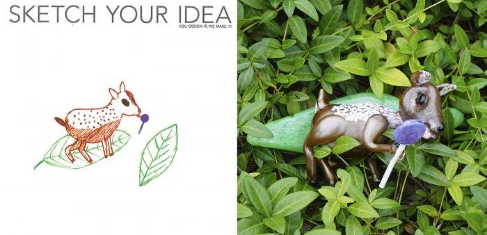 Deer on a leaf licking a lollipop designed by Emma; made by Megan Mathie