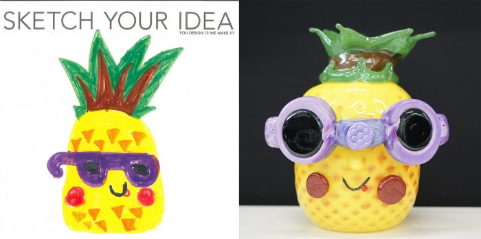 Pineapple with sunglasses designed by Justina; made by Carl Siglin