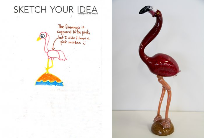 Flamingo designed by Katherine; made by Catherine Ayres and  George Kennard