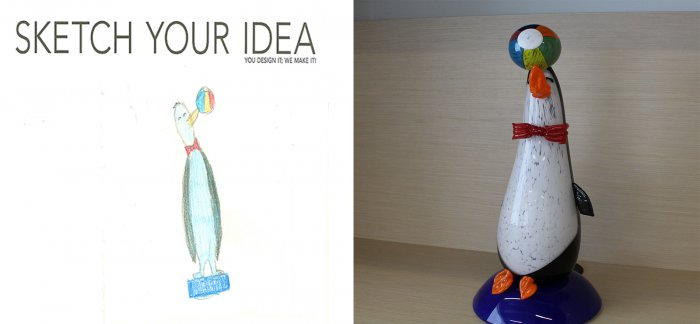 Penguin designed by Isabella; made by Eric Meek and Expanding Horizons
