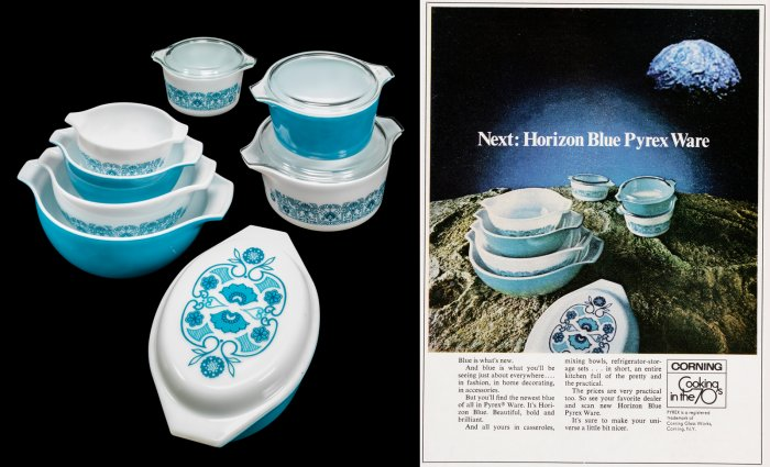 "Cinderella Bowls, Casseroles, and Corning advertisement depicting ""Horizon Blue"" pattern."