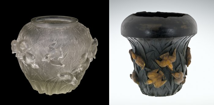 Left: Vase, Martins-pêcheurs sur fond de roseaux (Kingfishers on a background of reeds), dated 1930. Mold-blown glass using a cire perdue (lost wax) mold. H. 26.3 cm, Diam. 32.1 cm. (2011.3.188, gift of Elaine and Stanford Steppa)  Right: Model for a Vase, Martins-pêcheurs et roseaux (Kingfishers and reeds), dated 1932. Modeled and cast wax and Plasticine. H. 32.1 cm, Diam. 29.6 cm. (81.7.12)