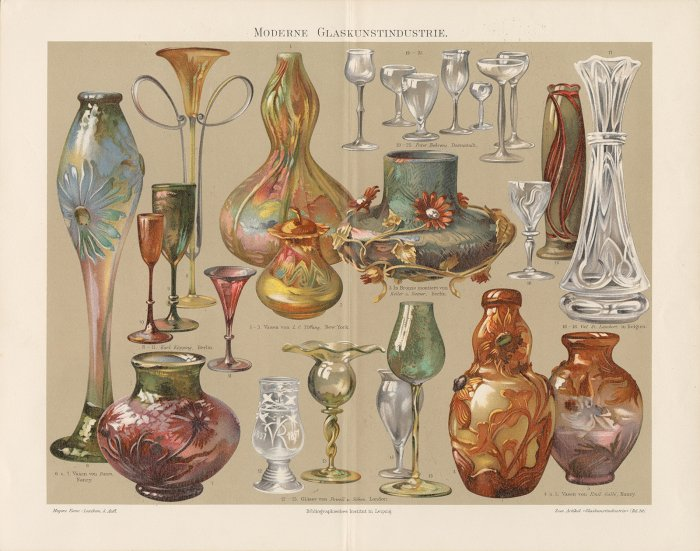 Moderne Glaskunstindustrie plate features 25 pieces of art glass by Tiffany, Daum, Köpping, Behrens, Gallé, Val St. Lambert, Powell & Son, and Keller und Reiner, published about 1893-1901. CMGL 61065