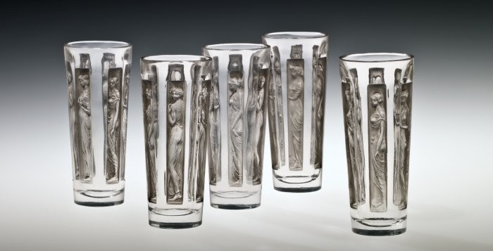 Five Goblets, Six figurines (Six figurines), designed 1911. Mold-pressed glass, acid-etched, applied patina. Each: H. 9.8 cm, Diam. 4.25 cm. (74.3.181 and 75.3.269, gift of Steuben Glass)