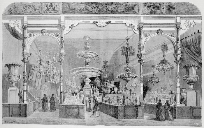Fig. 2: View of the Baccarat display at the Paris World's Fair of 1867, with mammoth fountain in the center. From L'Exposition Universelle de 1867 illustrée: Publication internationale autorisée par la Commission Impériale, ed. Fr. Ducuing, Paris:the commission, 1867, v. 1, pp. 376-377. Juliette K. and Leonard S. Rakow Research Library of The Corning Museum of Glass, Corning, New York.