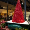 Holiday tree made of red glass ornaments