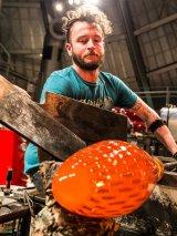 Artist Austin Stern making glass