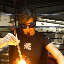Jen Kuhn during a flameworking demonstration