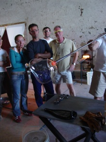 Students work in glass at Liquid Fusion at domaine de boisbuchet
