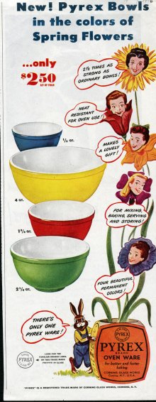 "Corning advertisement for Pyrex ""Primary Color"" mixing bowls."