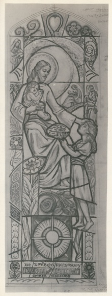 Stained glass cartoon of Jesus with two children, designed by Katharine Lamb Tait