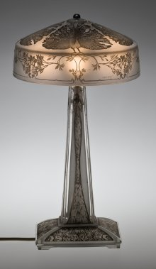 Table Lamp, Paons (Peacocks), designed 1910. Mold-pressed glass, acid-etched, applied patina; electric light fittings. H. 39.8 cm, Diam. 21.9 cm. (2011.3.210, gift of Elaine and Stanford Steppa)