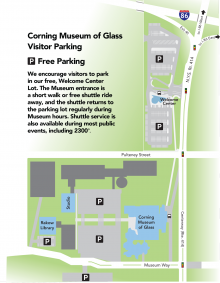Visitor Parking Map for Corning Museum of Glass
