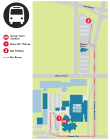 Motorcoach Parking Map for Corning Museum of Glass