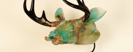 "River Buck, Grant Garmezy 27"" x 24"" x 26"", hot sculpted furnace glass, electroplated copper, steel, 2014  Photo credit: Brian Cannizzaro"
