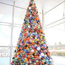 The Museum's giant glass ornament tree