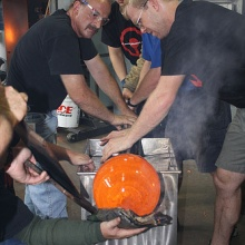 Giant Glass Pumpkin - rolling and shaping