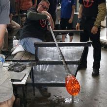 Giant Glass Pumpkin - adding some air