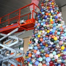 Installing the glass ornament tree.