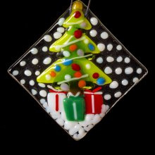 Holiday Open House Fused Glass Ornament
