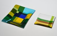 Two square fused glass plates.