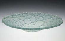 transparent, cast glass green bowl