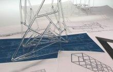 Borosilicate sculpture and blue prints.